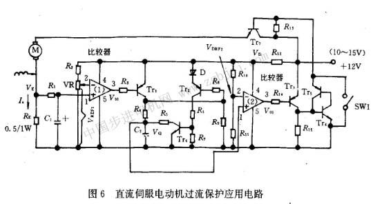 电路主要由电机电流检测和低通滤波电路、过流设定值电路、过流比较器电路、时间常数设定电路、持续时间检测比较器电路、持续时间比较器基准电庄vref2、关断电路等组成。电机电流由re电阻检测,低通滤波电路是把re上的纹波电压滤除,过流比较器是判断负载电流是否超过允许值,持续时间比较器是判断过流的持续时间是否超过允许值。这个电路首先判断是否过流,如有过流再判断过流持续时间,因此这个电路要设定二个基准值。