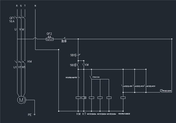 时间继电器,还有磁保持接触器,交流接触器形成的电机保护电路.