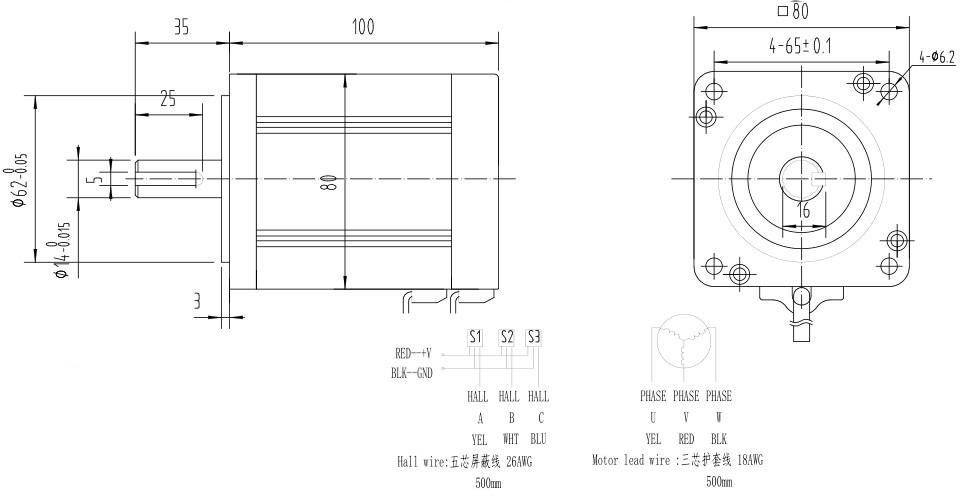 80bl110s50-445tk9直流无刷电机 48v空载可达6000转 500w配套无刷驱动