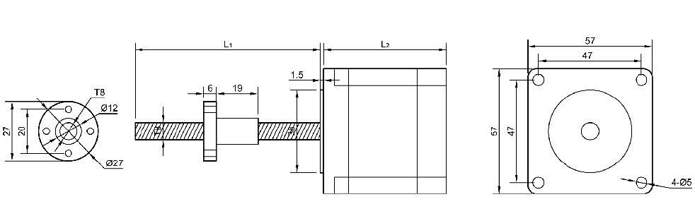 57直线步进电机t8梯型丝杠及搭配驱动器(lkd)
